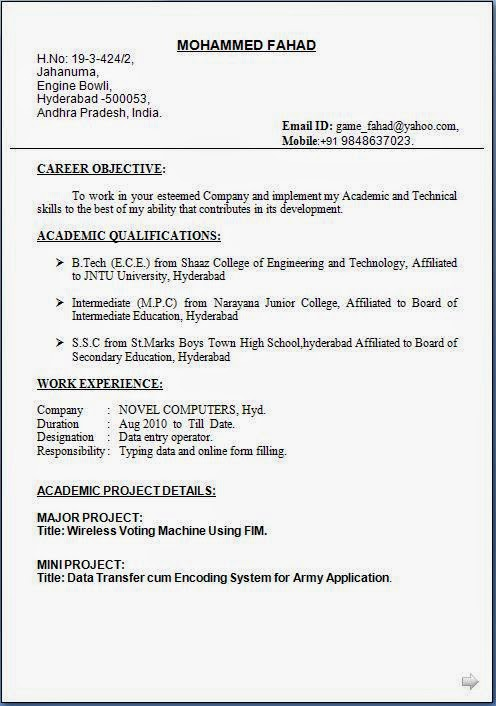 Data Entry Operator Resume Format Free Download