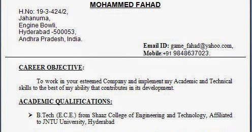resume format doc for fresher 12th pass professional resumes
