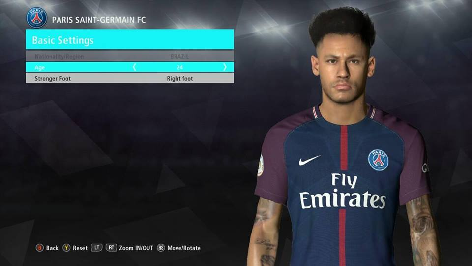 PES2017 Neymar New Hair By Ahmed Tattoo & Facemaker