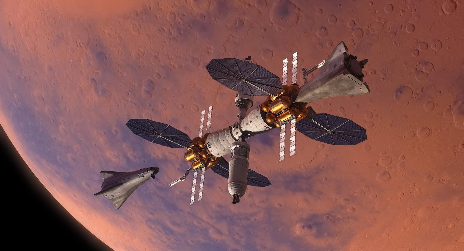Lockheed Martin Mars lander docked with Mars Base Camp