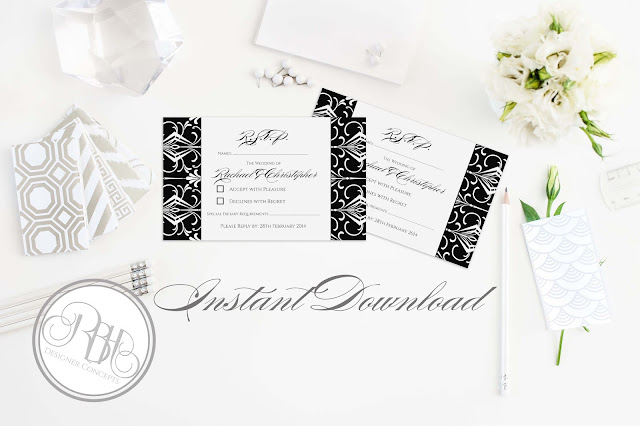 black white art deco rsvp reply card by rbhdesignerconcepts