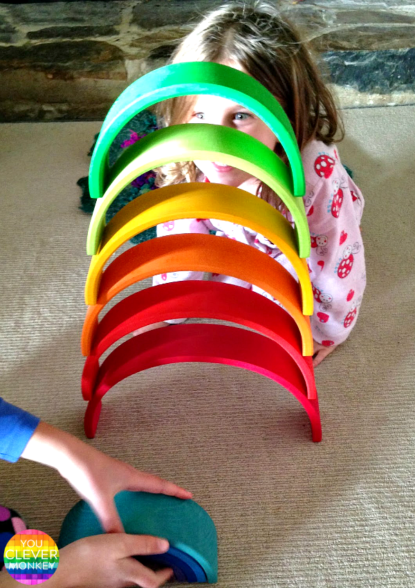 Eight Different Ways to Play with a Grimms Rainbow Stacker - from creating small worlds for pretend, to challenging your youngest builder and  exploring early Maths and STEM concepts, a Grimms Rainbow Stacker is the perfect toy and a must for any childhood | you clever monkey