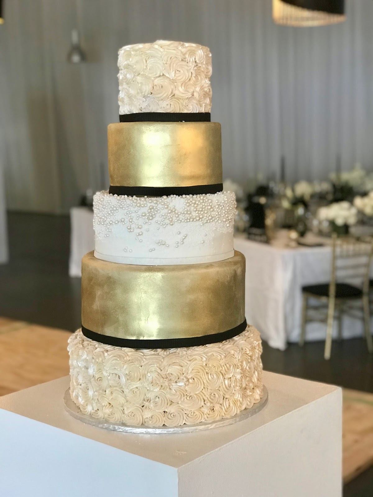 Rozanne\'s Cakes: 5 tier gold and black wedding cake