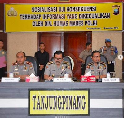 Blogger Tanjungpinang :Divisi Humas Polri sosialisasikan uji konsekuensi terhadap informasi yang dikecualikan