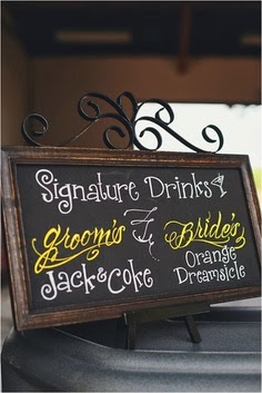 signature drink wedding signage