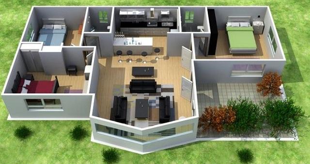 Plano de casa 3d con tres dormitorios planos de casas for Planos de casas en 3d gratis