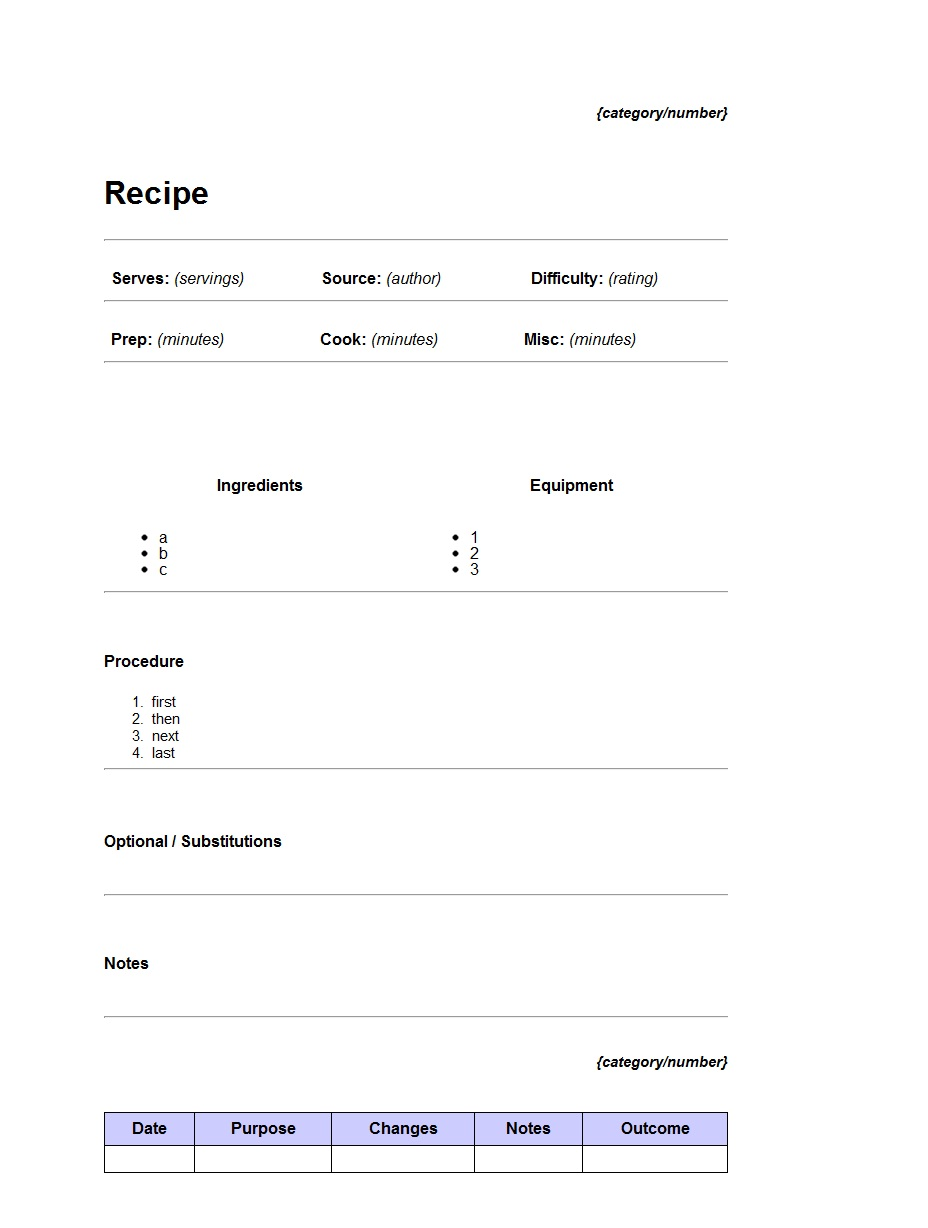 Cooking Recipe Word Template ~ Template Sample