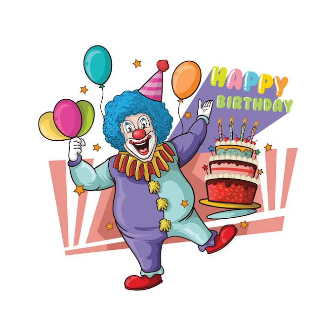 Painted birthday party clown free vector material