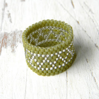 peyote ring beaded ring beadwork jewelry seed bead ring olive beadwoven ring anabel27