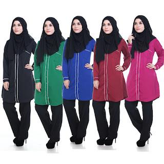Kemeja Muslimah Labuh Amna Terdapat dalam saiz M L XL 2XL 3XL