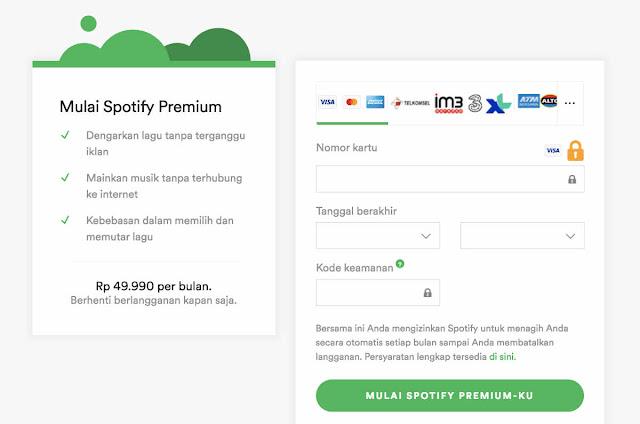 Pembayarn Spotify dengan Kartu Debit Online