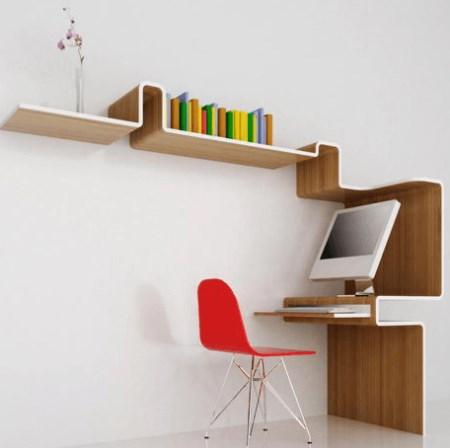 Meja Komputer Minimalis menempel pada dinding