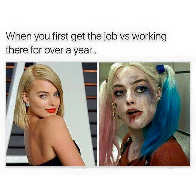 When you first get the job VS working there for over a year.