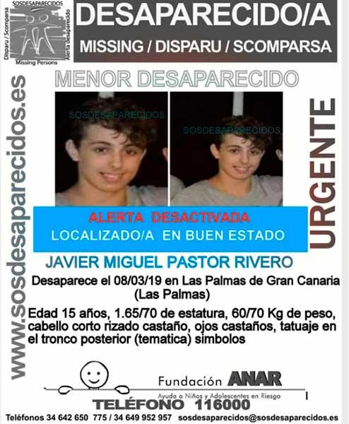 Localizan  en buen estado a Javier Miguel, menor desaparecido en Las Palmas