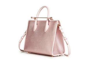 Strathberry Midi Tote Metallic Dusty Pink