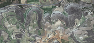the beatles in Spain,allegory Spain fields from the air,abstract expressionist photography,  fantasy imaginary forms, abstract surrealism,