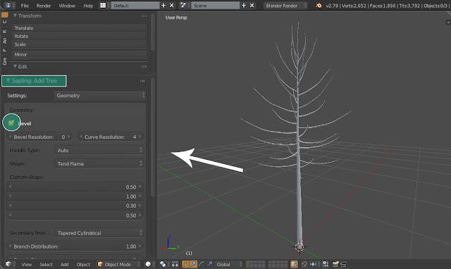 Pengaturan untuk model Pohon Sapling: Add Tree