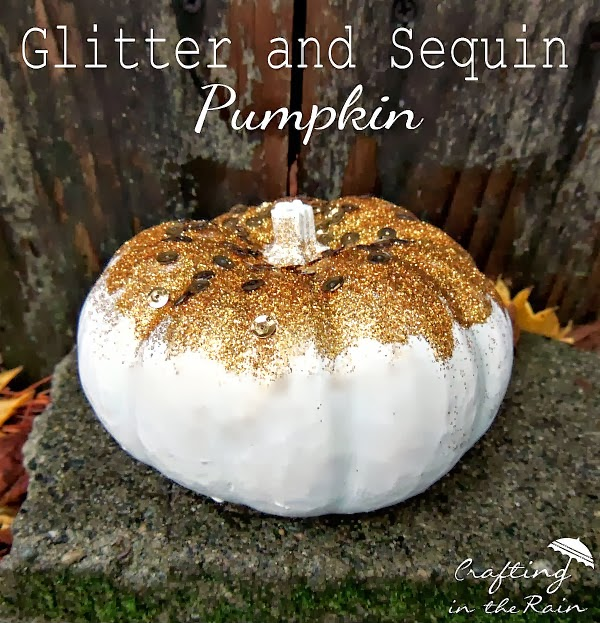 Glitter and Sequin Pumpkin from Crafting in the Rain  |  25 Creative DIY Pumpkins at www.andersonandgrant.com