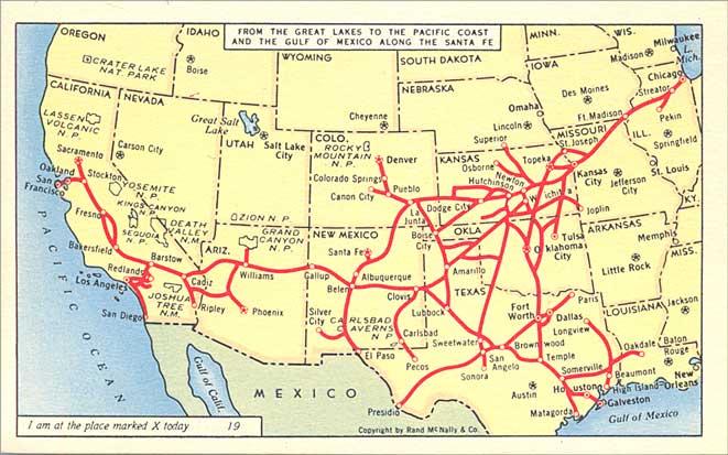 POSTCARDY the postcard explorer Map Along the Santa Fe Railway