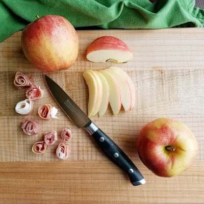 slicing apples and prosciutto with swiss diamond paring knife