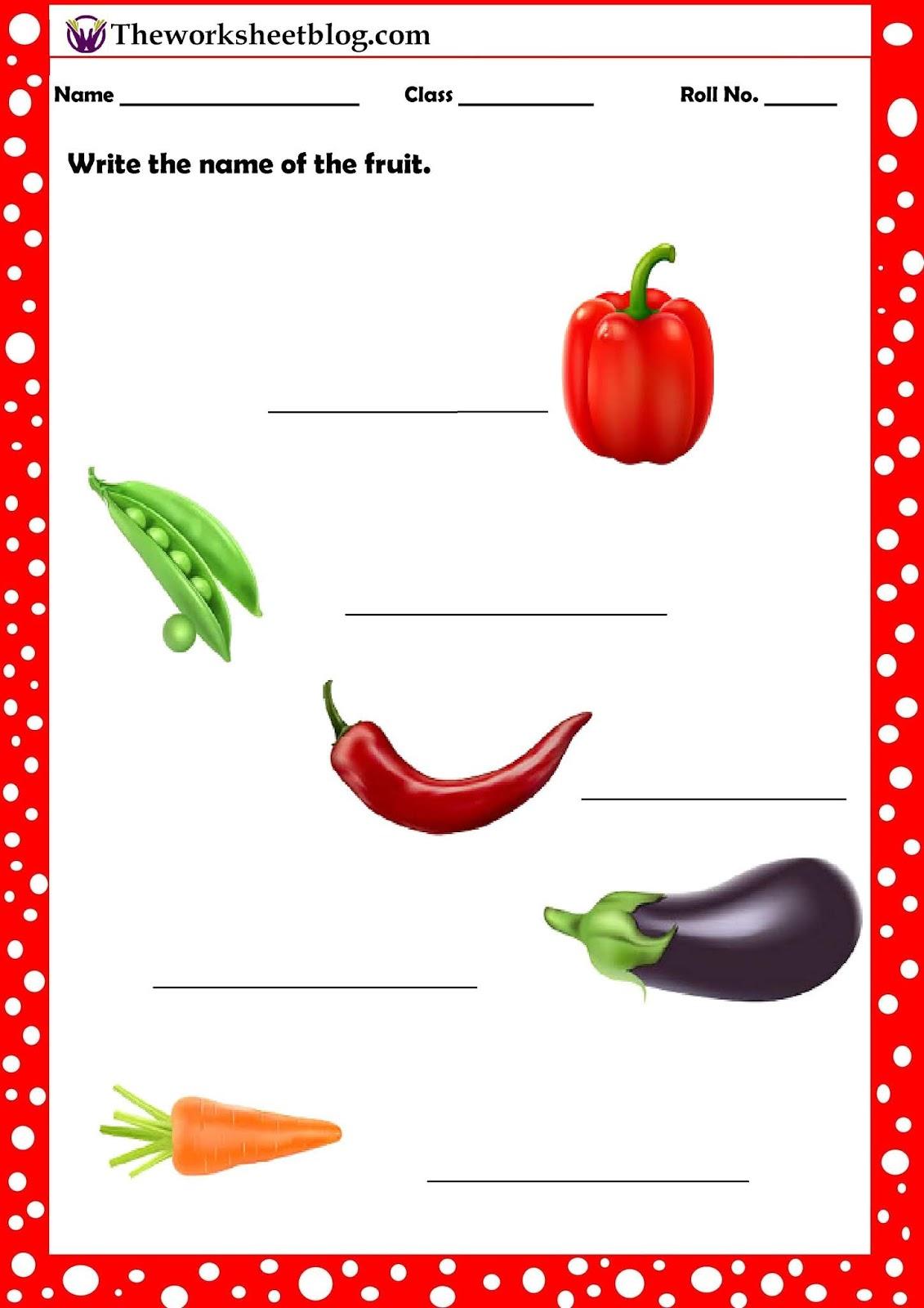 Fruits And Vegetables Worksheet For Kindergarten