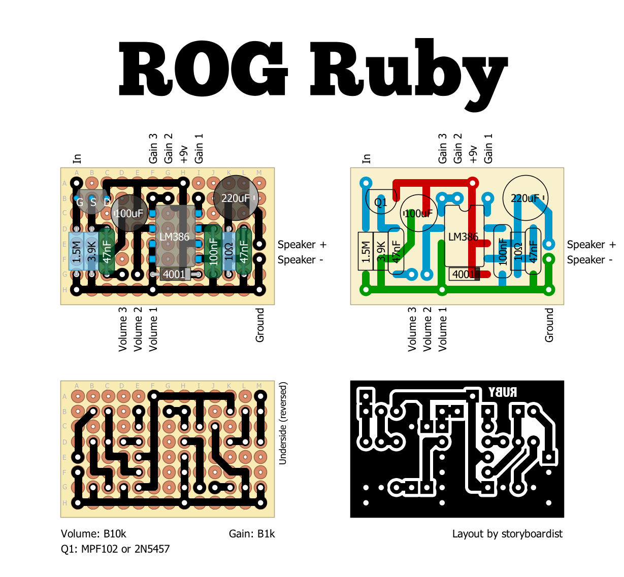 Perf And Pcb Effects Layouts Run Off Groove Ruby Amplifier Circuit Using Lm380 With Mic 400x400 Mini So Heres Rogs Rubya 386 Based That Can Easily Fit In A 1590a Or Even An Altoids Tin Check Out The Rog Article On For More Info