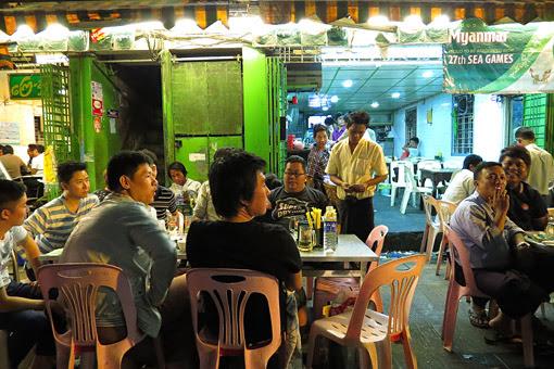 open air restaurant at night