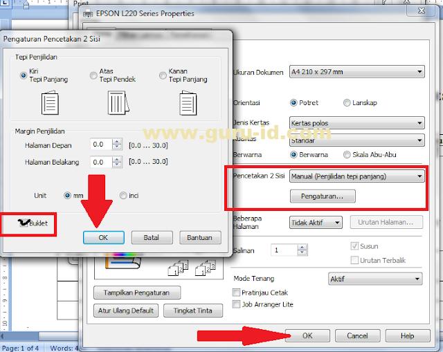 gambar cara print bolak-balik dengan printer epson l220