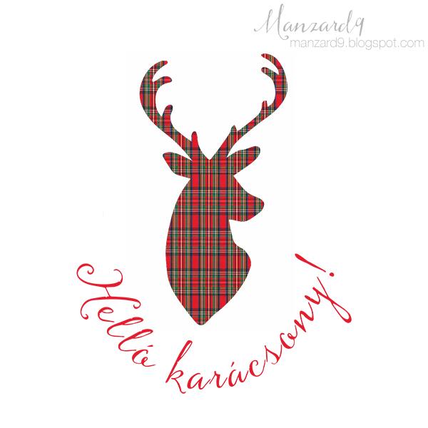 Karácsonyi skótkockás szarvas-sziluett I Manzard9