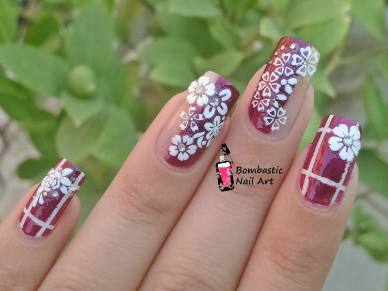 White 3d Flower Decals With Striping Tape Nail Art Bombastic Nail Art