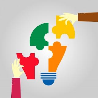 puzzle solution lightbulb hands