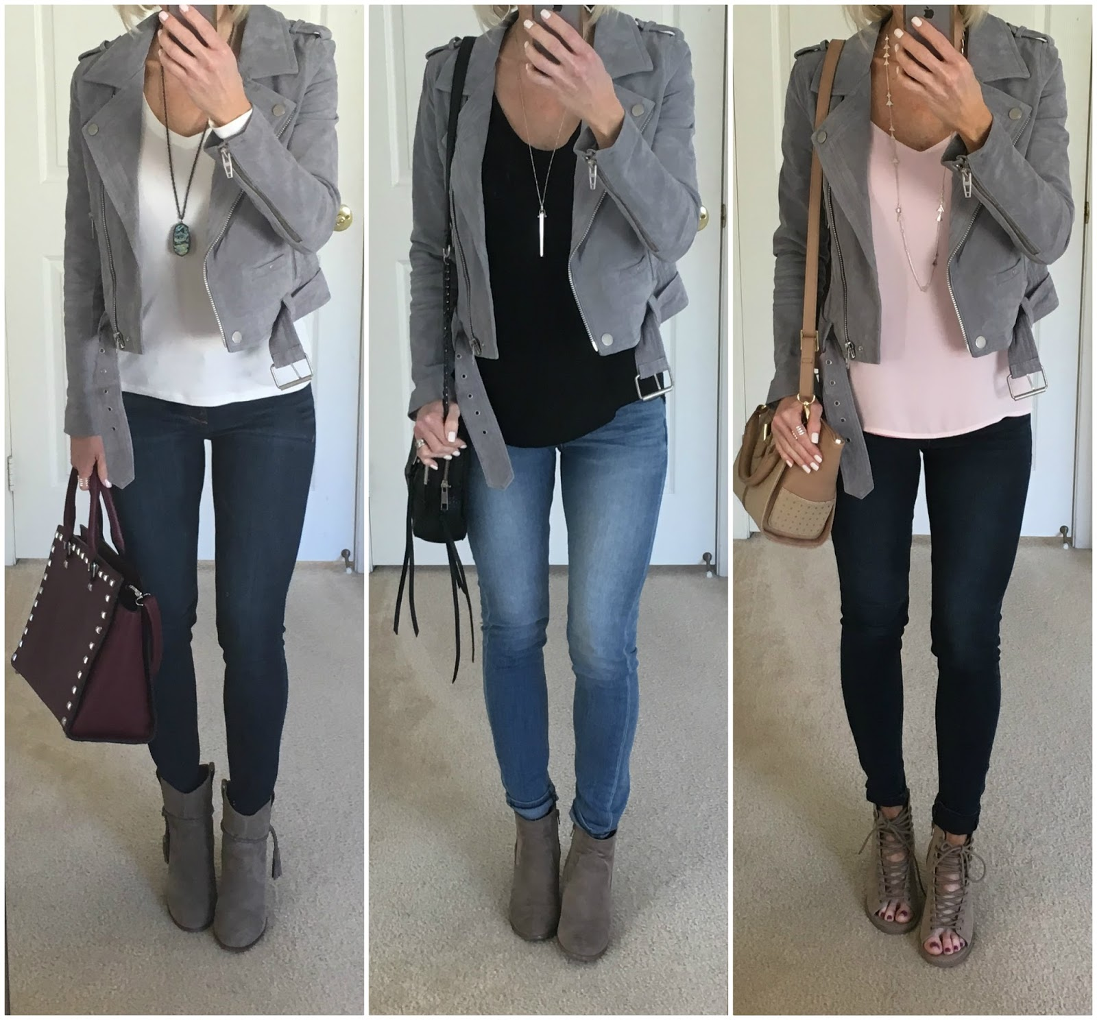 three ways to wear grey suede moto jacket  on the daily