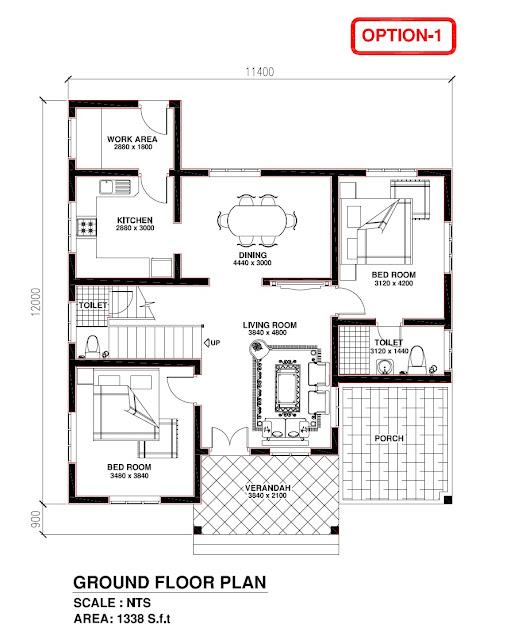 Kerala Building Construction: Kerala Model House 1338 S.f.t