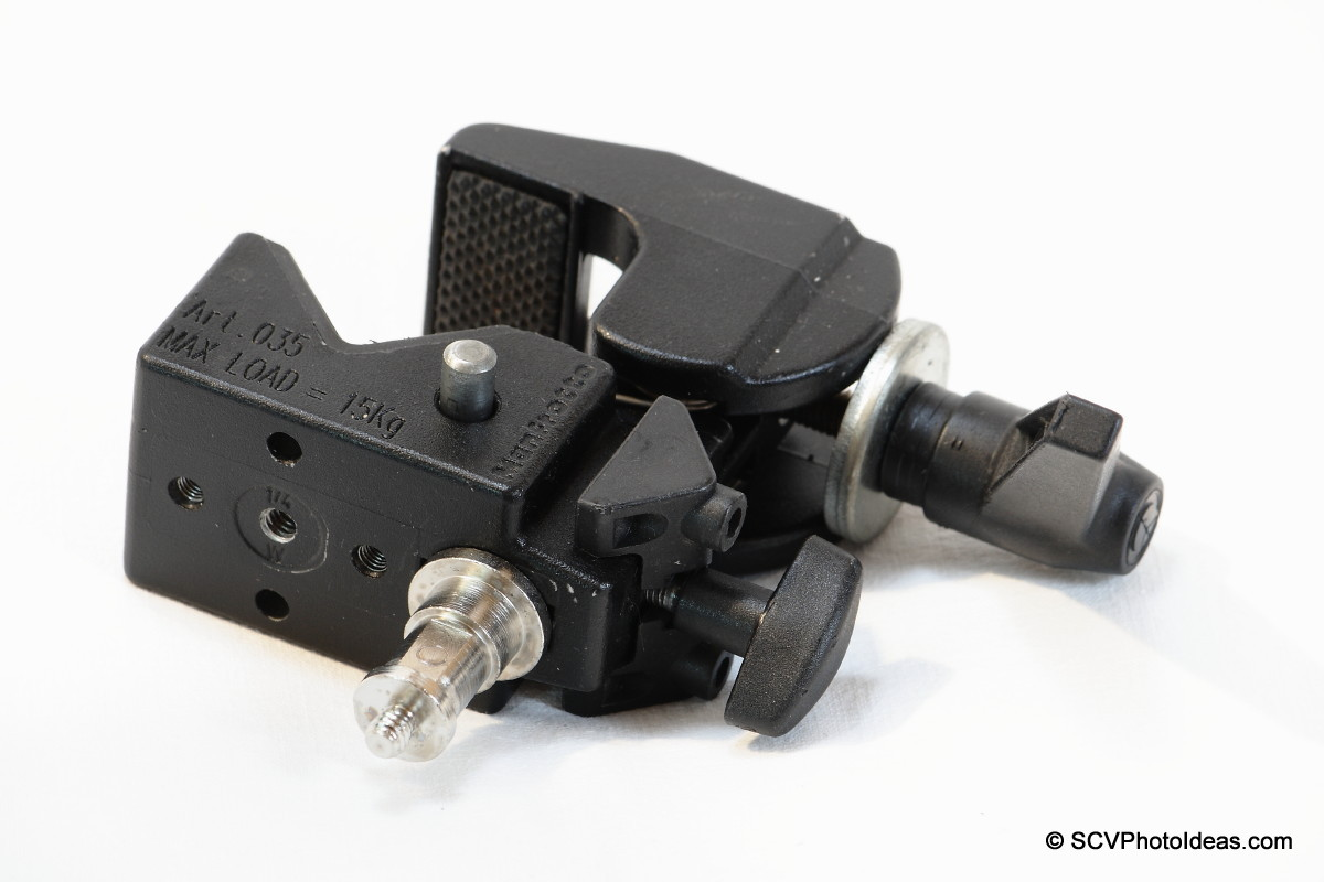 Manfrotto Super Clamp 35 bottom view w/ Double spigot in mounting hole