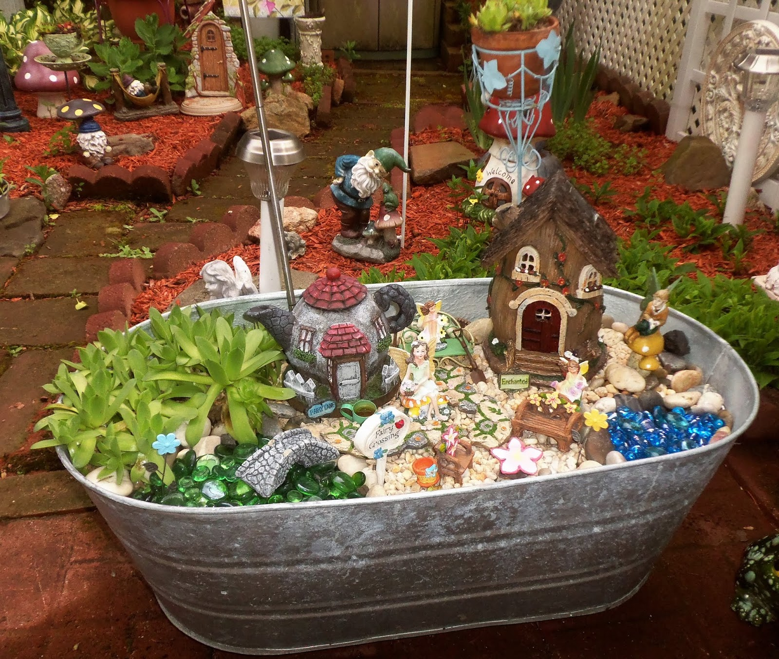 Fairy Garden in a Galvanzied Tub, 2018