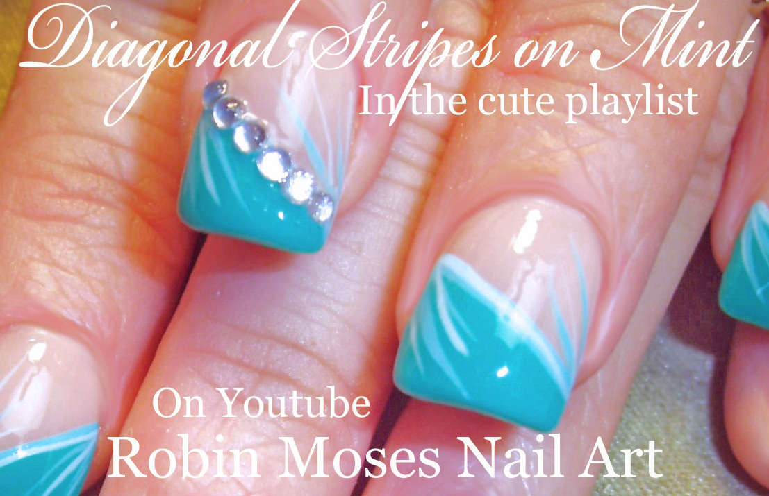 Nail Art By Robin Moses Black Lace Mint Mani Diy Hand Painted
