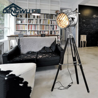 Floor Lamps Living Room Bedroom Searchlight Bake Luo Wind German Designer Wrought Iron Tripod Fork Bar