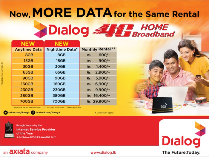 Now, get MORE DATA for the same rental from Dialog 4G Home
