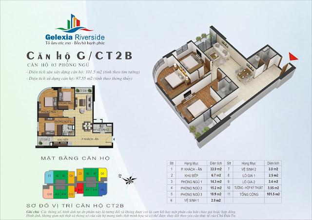Mặt bằng căn hộ G tòa CT2B - CT3 Gelexia Riverside