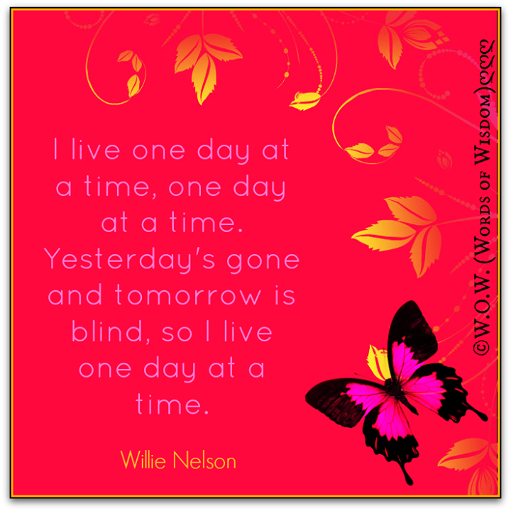 I Live One Day At A Time One Day At A Timeyesterdays Gone And