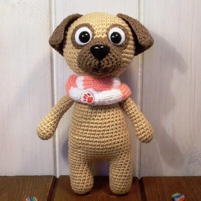 Собака мопс амигуруми крючком
