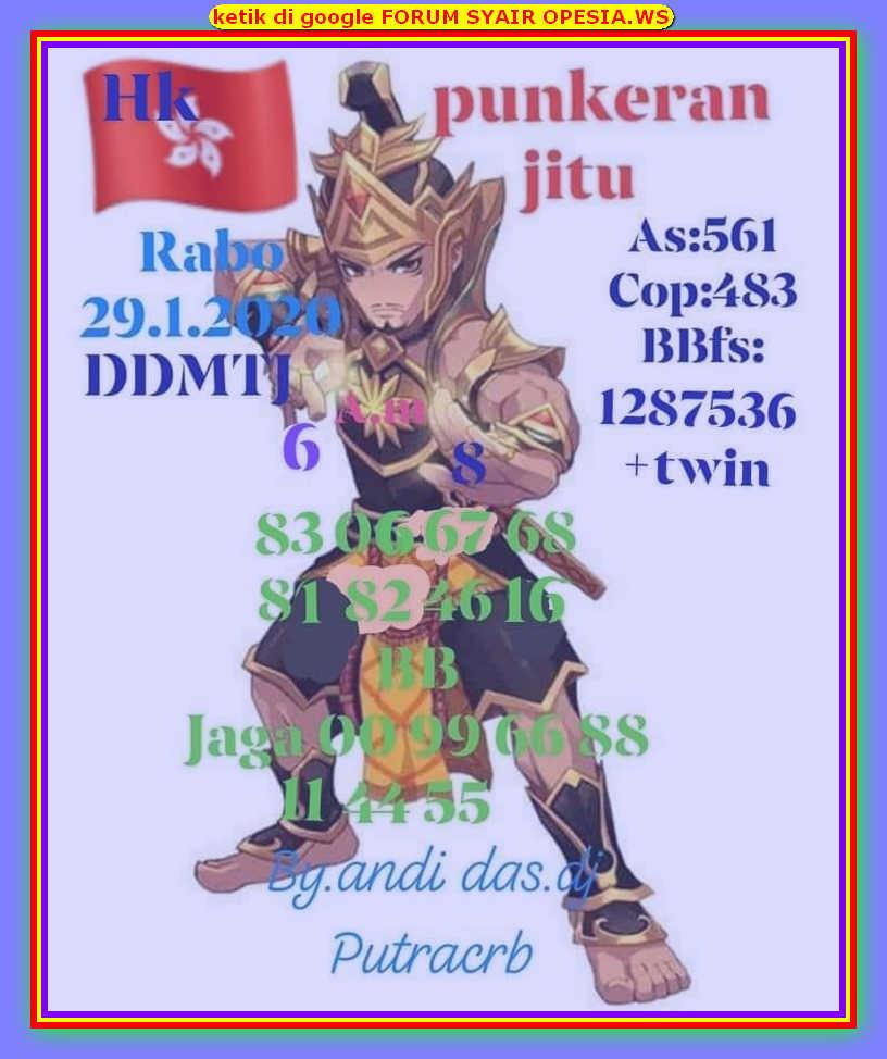 Kode syair Hongkong Rabu 29 Januari 2020 10