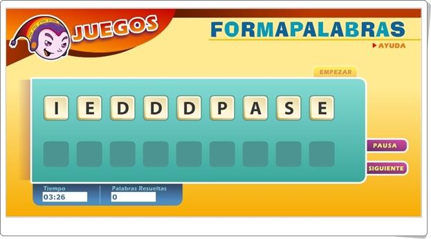 """Juego de Formapalabras: """"Esquema de una carta"""""""