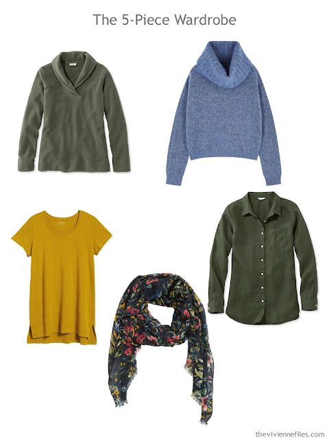 The French 5-Piece Wardrobe in basil green, soft blue and gold