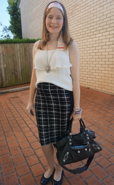 Away From Blue | Second trimester workwear Asos maternity pencil skirt ruffle cami