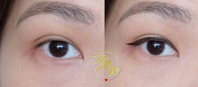 before and after photo of K-palette 1Day Tattoo Real Strong Water Proof Eyeliner review in Super Black and Brown Black .