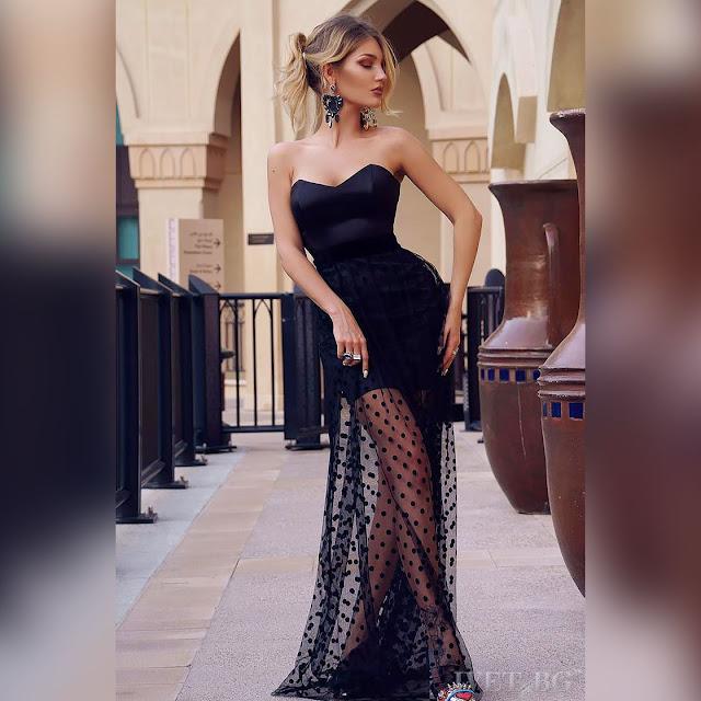 Strapless κοντό μαύρο φόρεμα MILLA