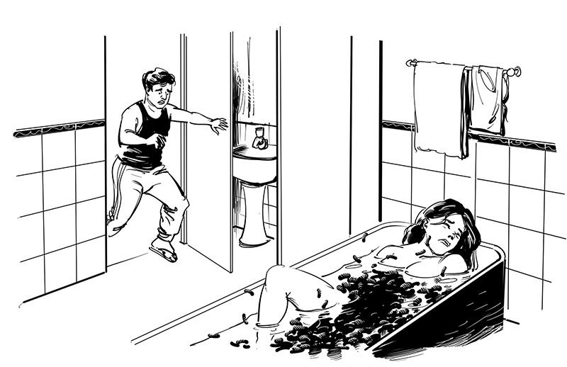 horror naked dead woman in bathtub eaten by worm scary story illustration