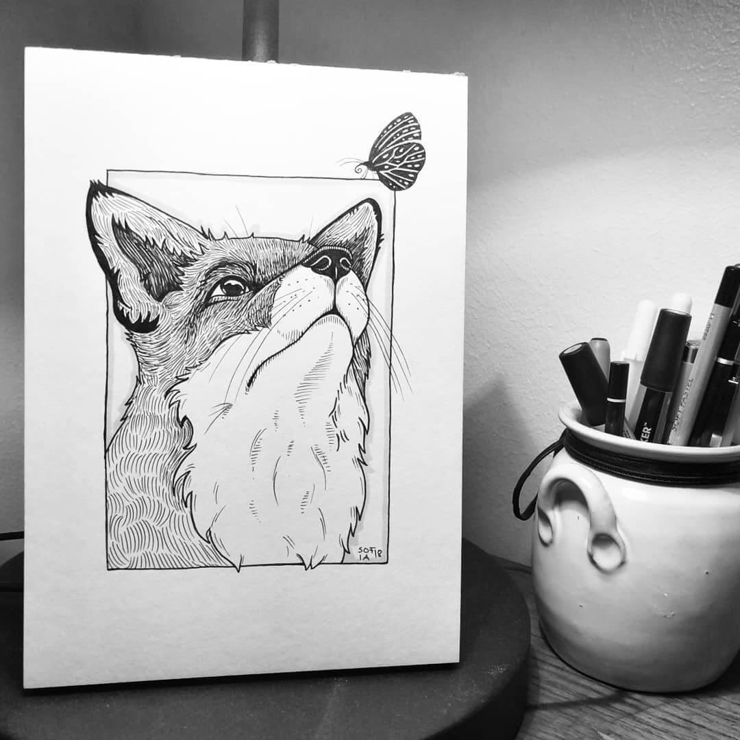 01-Tranquil-The-Fox-and-the-Butterfly-Sofia-Härö-Black-and-White-Ink-Animal-Drawings-www-designstack-co
