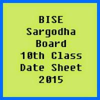 10th Class Date Sheet 2017 BISE Sargodha Board